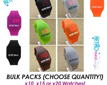 Retro Blink Time LED Watch BULK quantity PACKS of 10, 15, 20 Digital Silicone Strap Watches
