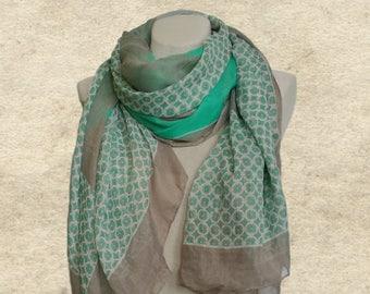 Boho scarf shawl, Mint shawl scarf, Fabric womens scarf, Geometric pattern, Women's trendy scarf, Bohemian scarf, Womens accessories