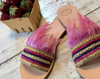 Bohemian Pink Sandals,Leather Sandals,Slip on Sandals,Womens Boho Shoes,Greek Leather Sandals,Pink Ostrich Sandals, Slides Sandals, Feathers