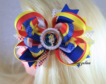 wonder woman hair bow, toddlers hair bow, cartoon hair bow, wonder woman bow, hair crown, hair hoop, hair bows for baby, boutique hair bow