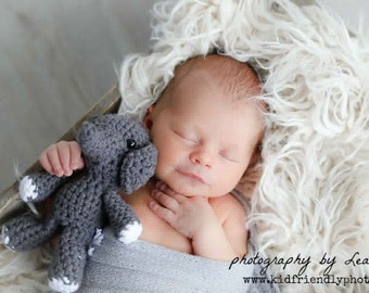 Newborn Stuffed Elephant, Baby Elephant, Newborn Photo Prop, Crochet Elephant, Elephant Toy, Baby Shower Gift, Elephant Nursery, Elephant