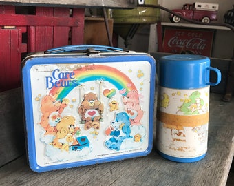 Metal Care Bears Lunch Box    1980s Care Bears Lunch Box with Thermos
