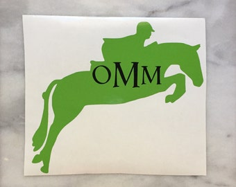 Hunter Jumper Horse Monogram Car Decal - equestrian sticker