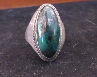 Wonderful Dark Green Sterling Silver Size 7 Southwest Style Native Turquoise Ring (E 711)
