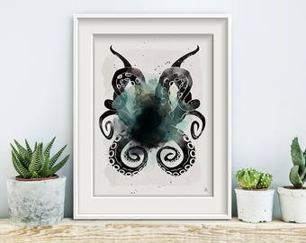 BLACK INK secret, poster, print, prints, artwork, premium print, wall art, Octopus, sea