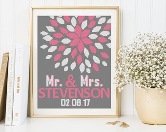 Modern Wedding cross stitch pattern, wedding gift, flowers pattern white pink  PDF DIY instant download