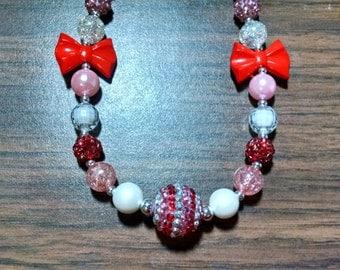 Valentine's Day Chunky Bubblegum Gumball Necklace.  12mm Valentine's Day Chunky Bubblegum Gumball Necklace