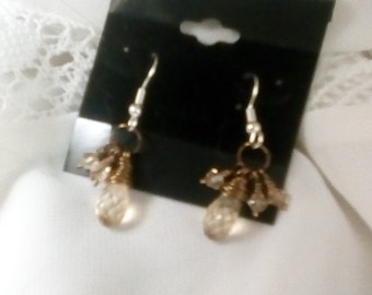 Swarovski drop earrings- Bronze and golden shade crystal
