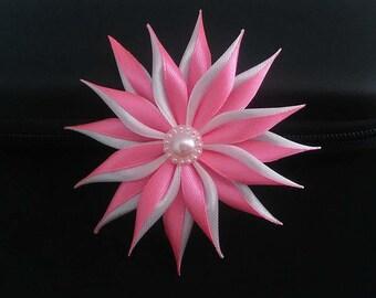 Rose flower Barrette and hair kanzashi/Fleur kanzashi/Ribbon satin white/clip