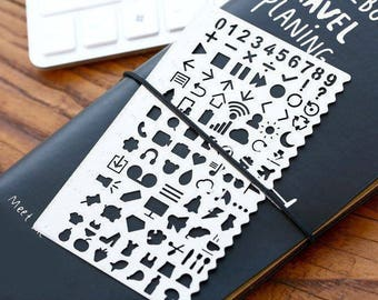 Stencil-Bullet Journal Stencil-Planner Stencil-Journal Stencil-Stainless Steel Stencil for Planner-Script Stencil-Useful Icon Stencil