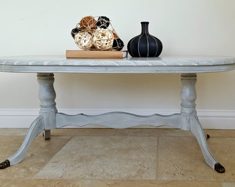 Grey Oval Vintage Coffee Table, Hand Painted Table, Coffee Table
