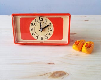 Vintage Bright Orange Electric Alarm Clock - Made in Germany - 70s