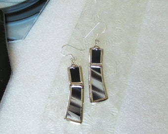 (black and white) stained glass earrings