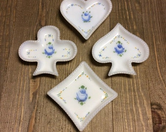 Milk Glass - Opalescent Glass - Playing Card Dishes - Playing Card Suit - Card Games - White Glass Dishes - Vintage Milk Glass