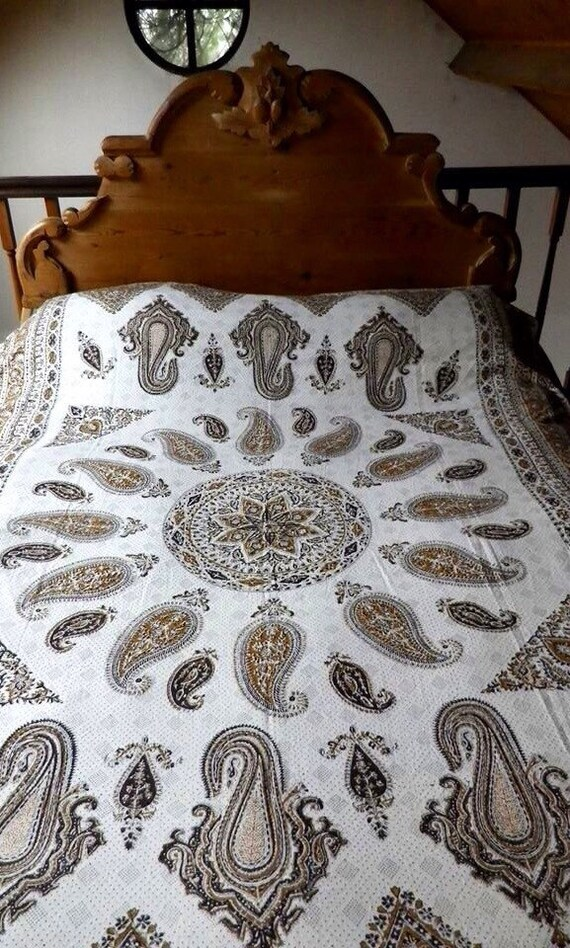 Hand block printed Brown mandala Tapestry art, tablecloth or bedspread with natural Dyes and tassels