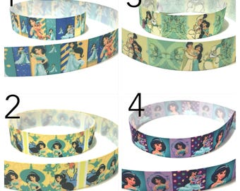 "1"" Princess Jasmine Ribbon by the Yard, Disney Princess Jasmine Grosgrain Ribbon, Hairbow Supplies"