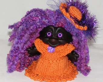 "4.25"" Dark Troll Doll, New Hair, Lavender Eyes, Dress, Matching Panties, Hat"