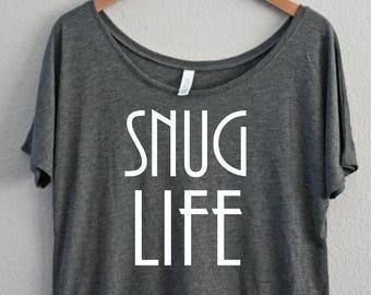 Snug Life. Slouchy Off the shoulder, Boat Neck, Coffee Shirt, Funny Shirt, I Need Coffee, I love Coffee