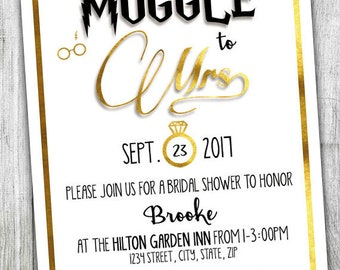 custom harry potter bridal shower invitation muggle to mrs bridal shower wedding shower