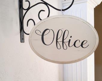 Office sign - farmhouse office decor - rustic farmhouse housewarming gift - office sign with bracket - shabby chic - farmhouse sign -