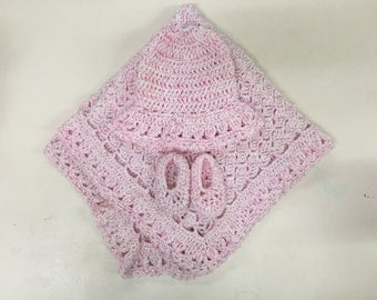 Baby Blanket, Booties, and Hat, Hand Crocheted Bundle