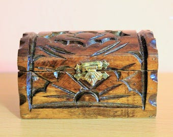 Vintage Wooden Jewelry Box, Ring Box, Carved Wood Storage, Folk Art