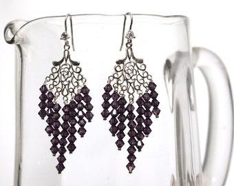 Amethyst Crystal Silver Earrings -Long Earrings -Birthstone Jewellery -Chandelier Earrings -Gift for Her -Handmade -Beaded Earrings -UK Shop