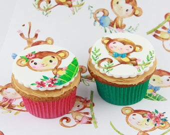 Monkey Birthday or Baby Shower edible Cake Toppers, 12 fondant cake decorations or party favour treats