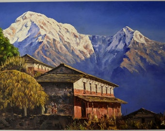 "Landscape Hand Painted Mountain 120cmX 74cm 47""x29"" Art Nepal Oil Painting Canvas Framed"
