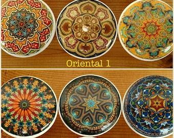 Oriental Mandala OR Bright Mandala Wood Knob on Cherry Wood Knob size 1.5 x 1.18  Dresser Knob, Drawer Pull, Dresser Pull