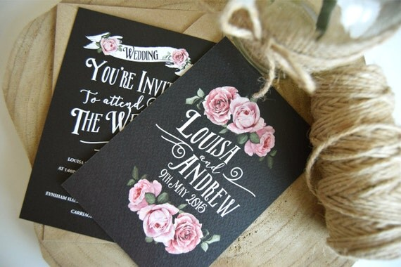 Chalkboard Rustic Rose Wedding Invitation Set Sample