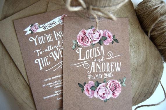 Brown Kraft Rustic Rose Wedding Invitation Set Sample