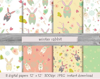 DIGITAL PAPER Winter rabbit cards  instant download  snowballs snowflakes milk white turquoise pink