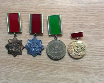 Bulgarian Medal set for Merit in Construction Troops