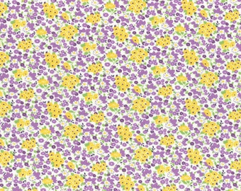 Purple and Yellow Tiny Floral Bouquet Print from the 1930's Collection by Lecien Fabrics