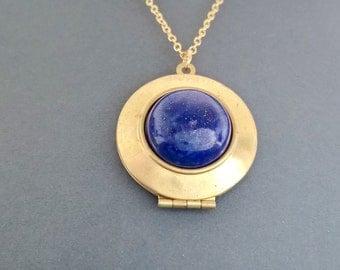 Locket,lapis lazuli necklace,lapislazuli,lapislazuli pendant,lapislazuli locket,silver locket,925 sterling silver,