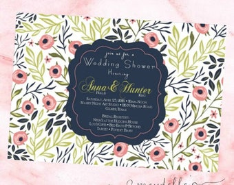 Wedding Shower Invitation - Navy & Floral - Custom Invitation