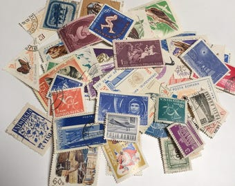 Vintage Lot of 50 Romanian  Stamps