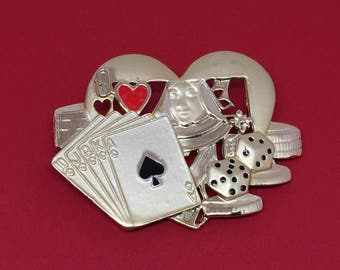 AJC BROOCH Lot Queen of Hearts Golf Pin Poker Cards Signed Gold Jewelry Vintage Brooches Scarf Clip