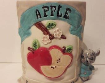 Vintage Handmade Seed Packet Ceramic Vase Mouse Apple