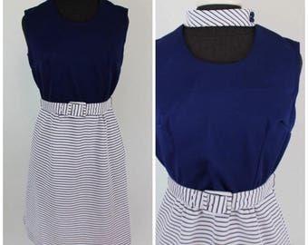 Vintage 1960s Amazing Keyhole Dress - 60s Navy and White Nautical Belted Shift Mini Dress - Size Medium