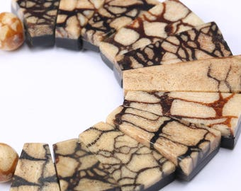Bone Necklace  on Wooden Inlay Geometric Pattern, 1950s