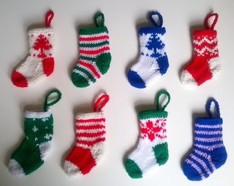 Mini Christmas Stocking Hanging Tree Ornament - Christmas Decoration - Hand Knitted