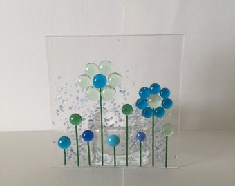 Floral Glass Plaque, Floral Candle Display  Fused Glass, Kilnformed Glass, Home Decor, Gift for her, Birthday Gift, Teacher's  Gift
