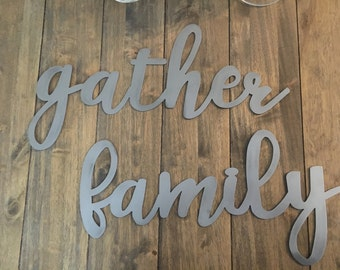 """Metal words   blessed, family, gather  18"""" length"""