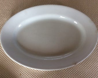 Antique JG Meakin primitive white ironstone oval serving plate serving platter