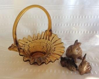 Vintage amber glass basket weaved and ruffle edge Fenton bride basket candy dish