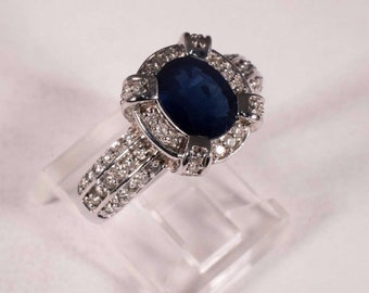 14K White Gold app. 2.5ct. tw. Sapphire and Diamond Chip Ring, size 7.75