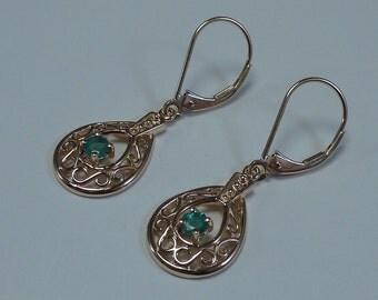 14K Yellow Gold Filigree Emerald Drop Earrings