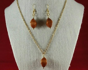 Brown  stone necklace and earring set
